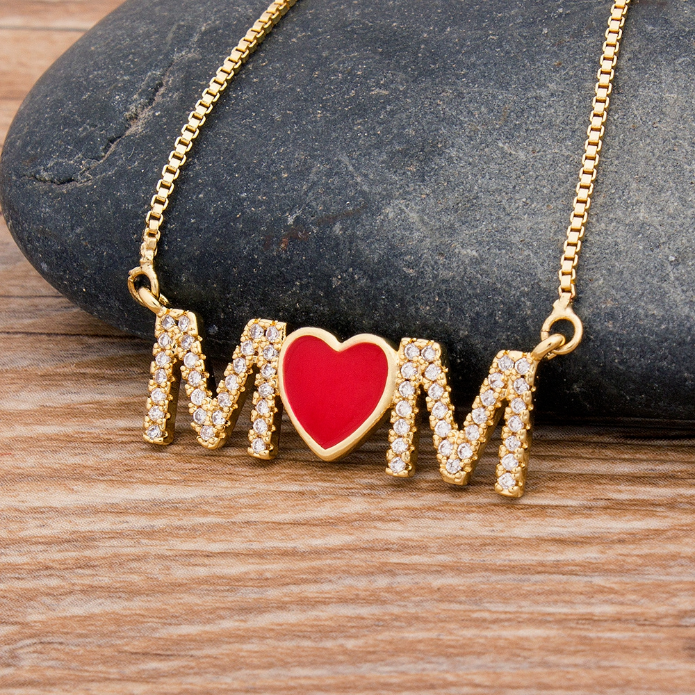 New Arrival Top Quality Copper Cubic Zirconia Heart Necklace Pendant For Mom Mama Long Snake Chain Jewelry Gift for Mother's Day