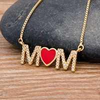 Nueva llegada Top calidad cobre cúbico Zirconia corazón colgante collar para mamá larga joyería de cadenas de serpiente regalo para el día de la madre