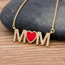 Collier Long en cuivre zircone cubique, pendentif coeur pour maman maman serpent chaîne bijoux cadeau pour fête des mères