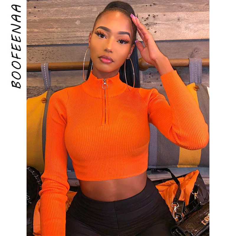 BOOFEENAA Zip Turtleneck Long Sleeve Knitted Cropped Sweater Top Women Autumn Winter Clothes Neon Sexy Jumper Pullover C70-I99