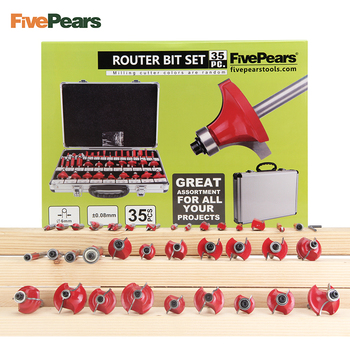 FivePears 35pcs 6mm Shank Router Bits Set Professional Woodworking Tungsten Carbide Milling Cutter With Metal Storage Box