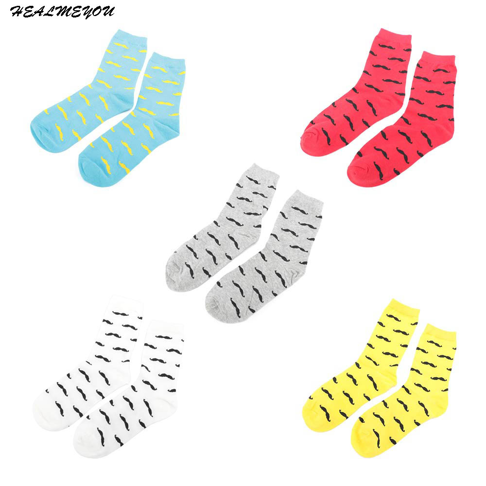 1 Pair Cartoon Mustache Design Men Cotton Casual Long Socks Autumn Winter Warm Lot Men's Cotton Funny Pattern For Male Socks