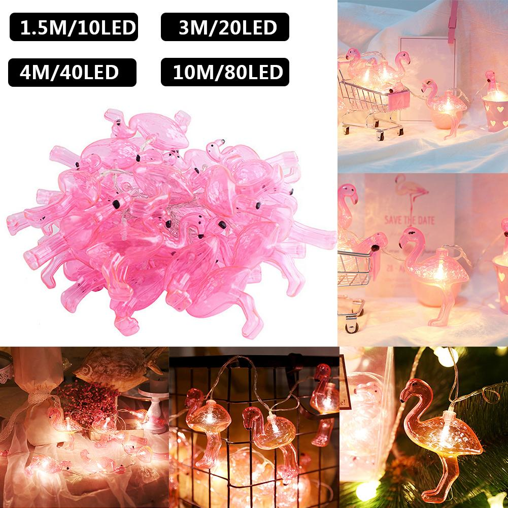 80pcs Flamingo LED Night Lamp LED Fairy Curtain Light Moon Star Pentagram Garland Lamp String Lights For Christmas Wedding Decor