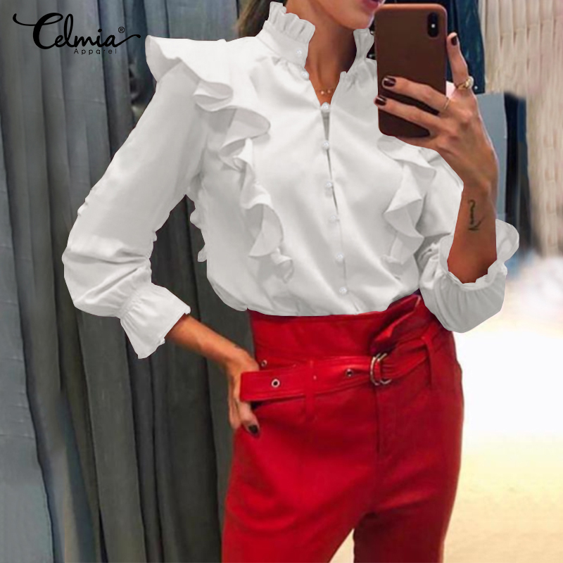 Stylish Tops Women Long Sleeve Blouses Celmia 2020 Autumn Stand Collar Casual Ruffles Shirts Loose Buttons Party Office Blusas