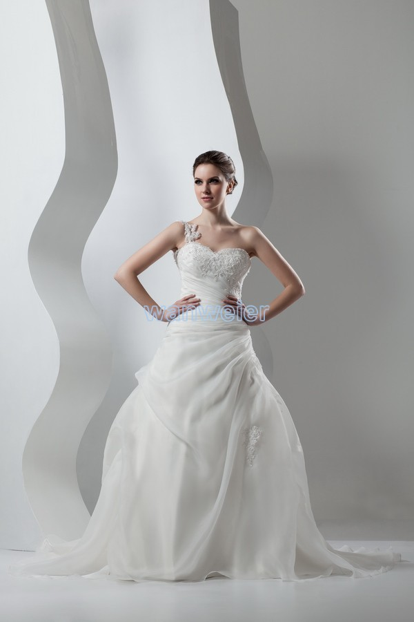 Free Shipping 2015 New Design Hot Seller Small Train Custom Size/color Crystal Ball Gown One Shoulder White/ivory Wedding Dress