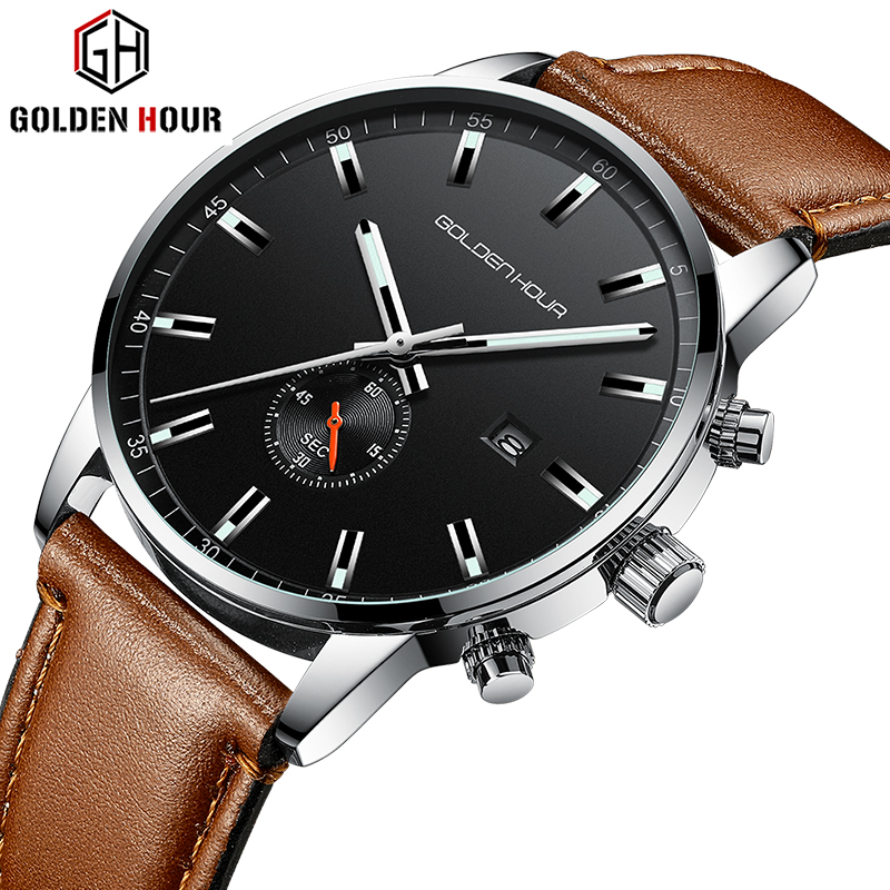 GOLDENHOUR Men Watch Top Brand Luxury Fashion Business Quartz Mens Watches Sports Waterproof Wristwatch Clock Relogio Masculino
