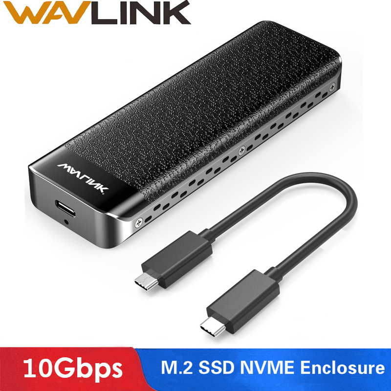 Wavlink USB-C M.2 NVMe Enclosure Up 10Gbps USB 3.1 Gen 2 SSD Case M-Key NVMe Connector Type-C For 2230/2242/2260/2280mm SSD Disk