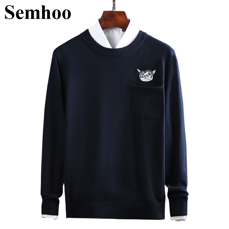 New Mens Sweaters For 2019 Pure Cotton O-neck Pullover Casual Animal Cat Long Sleeve Solid Color With Pocket Winter Men Sweater