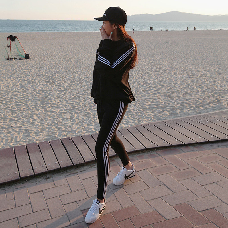 2019 New Style WOMEN'S Dress Korean-style Autumn And Winter Round Neck Fleece Lined Hoodie Leggings Two-Piece Set Fashion Leisur