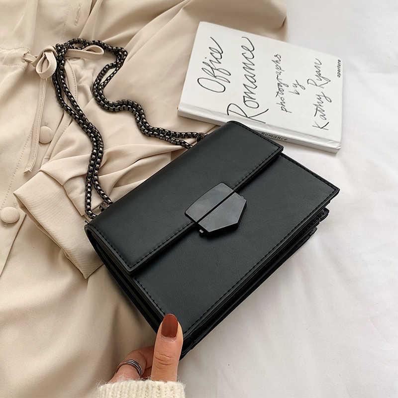 Retro Mode Weibliche Platz Crossbody-tasche 2019 Neue Qualität PU Leder frauen Designer Handtasche Schloss Kette Schulter Messenger Tasche