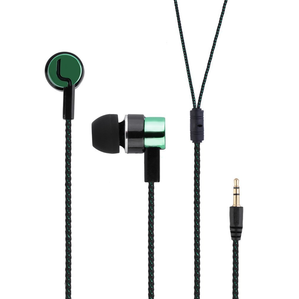 2016 Metal Earphones Jack Standard Noise Isolating Reflective Fiber Cloth Line 3.5mm Stereo Earphone Earbuds image