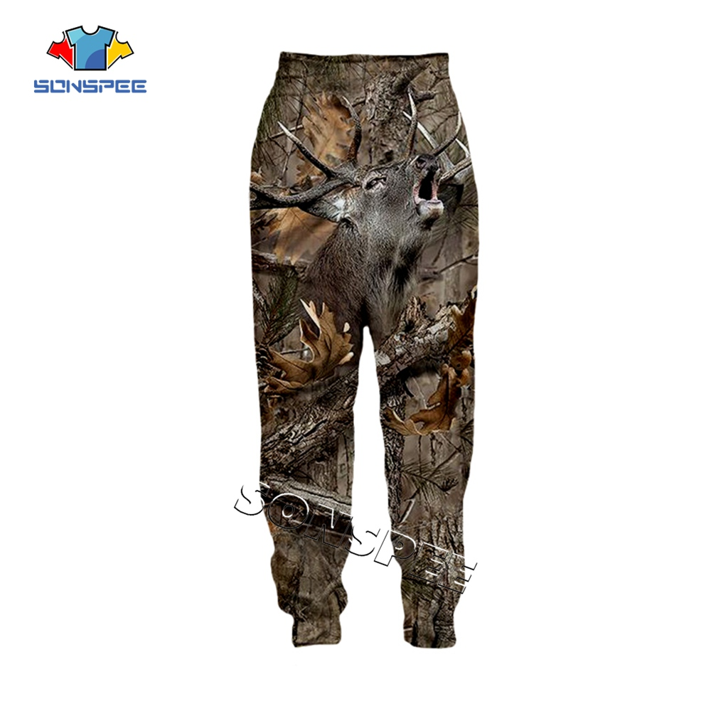 SONSPEE Animal Hunting Hunter 3D Print Harajuku Men Sweatpants Novelty Streetwear Women Fashion Casual Trousers Unisex Long Pant