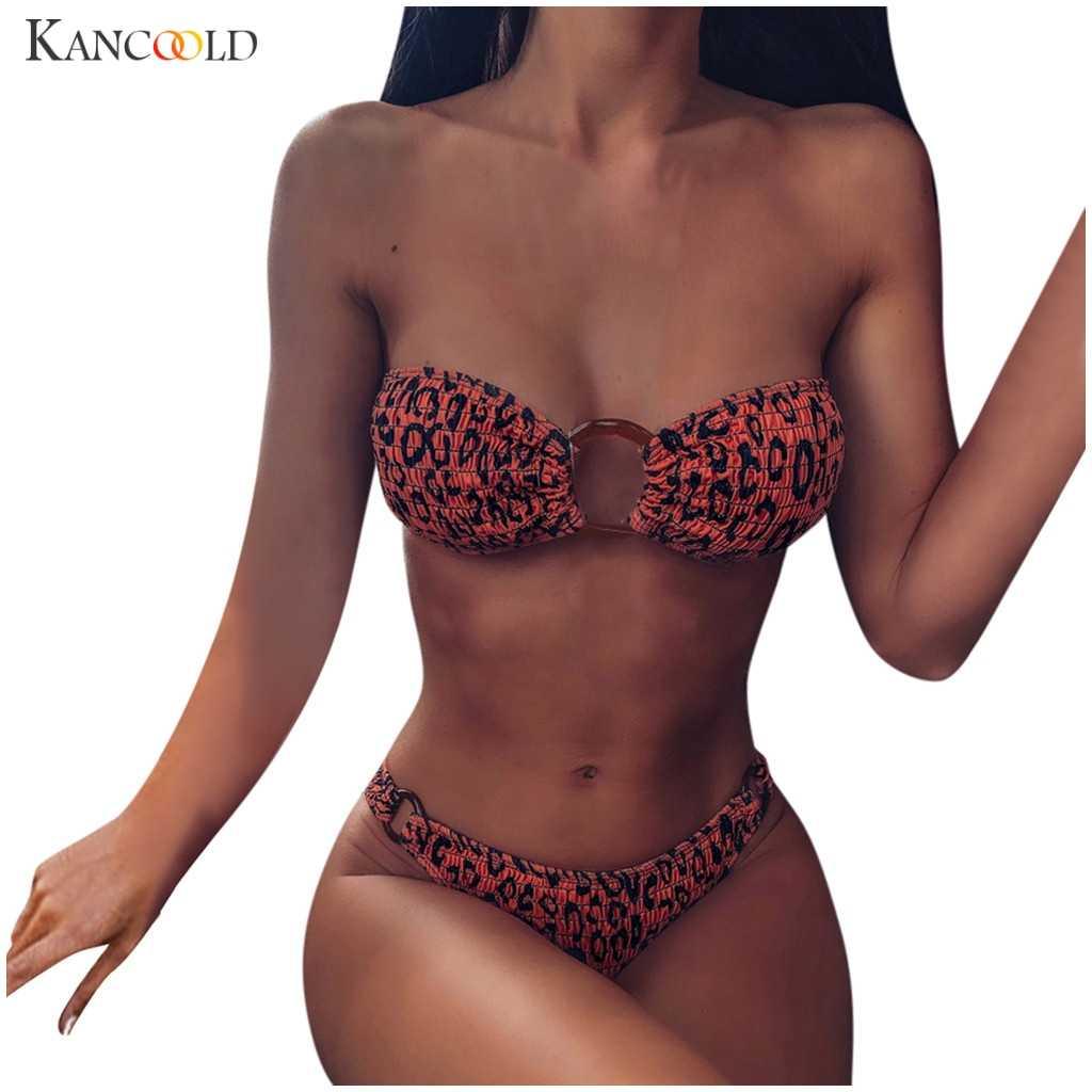 KANCOOLD ヒョウ水着ストラップレスの女性ビキニセクシーなプリント Swimswears バックル低ウエストマイクロ Tバックパッド入り Bandeaus カバーアップ