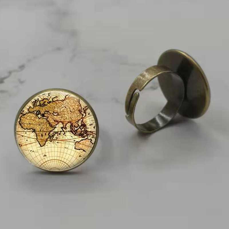 Vintage Globe Glass แหวน Planet Earth World แผนที่ Art Glass Dome Bronze โบราณแหวนผู้หญิงผู้ชายเงินเครื่องประดับ