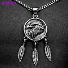 AMUMIU Vintage Anhänger Halskette Feder Adler Stahl Punk Tribal Indian Chef Kopf Pullover Zubehör P084