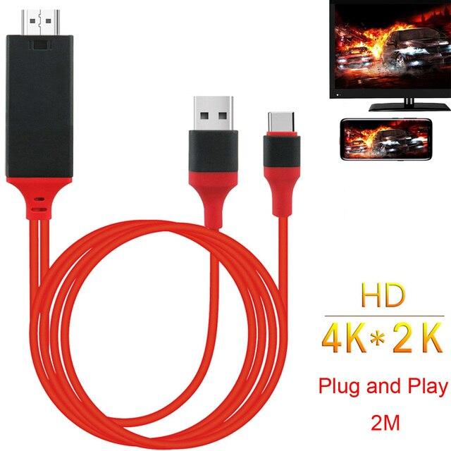 Hd Type C USB C Telefoon Naar Tv Hdtv Projector Video Adapter Hdmi Kabel Voor Samsung Galaxy S8 S9 S10 Note 8 Note9 Note10 Lg Macbook