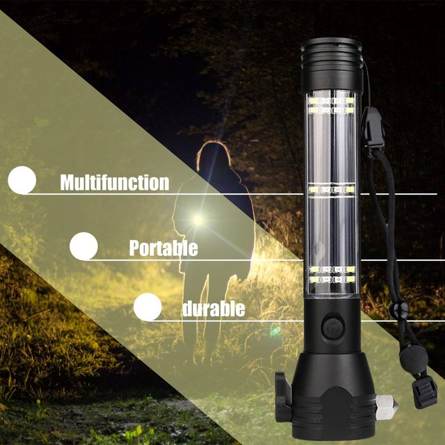 Solar Power LED Flashlight 9 in 1 Multi-Functional Safety Hammer Torch Light With Power Bank Magnet Survival Tool Emergency Ligh 4