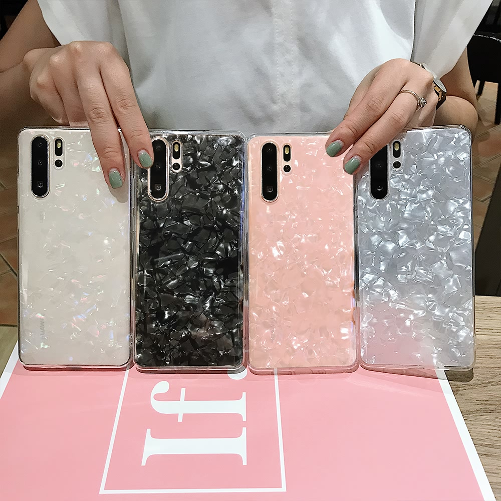 LAPOPNUT Soft Slim Glitter Translucent Silicone Shell Design <font><b>Case</b></font> Cover for <font><b>Huawei</b></font> <font><b>P20</b></font> <font><b>Lite</b></font> P30 Pro <font><b>Mate</b></font> 20 Shockproof Coque image