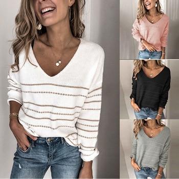 2020 Autumn V Neck Sweater Women Jumper Striped Sweater Ladies Off Shoulder Knitted Jumper Sweaters Female Pullover Todo partido v neck zipper choker jumper