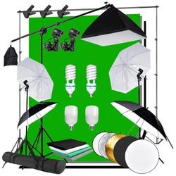 Photography Photo Studio Umbrella Softbox Light Background Kit E27 Socket Lighting Kit 4pcs Backdrops Cantilever Boom Arm Light