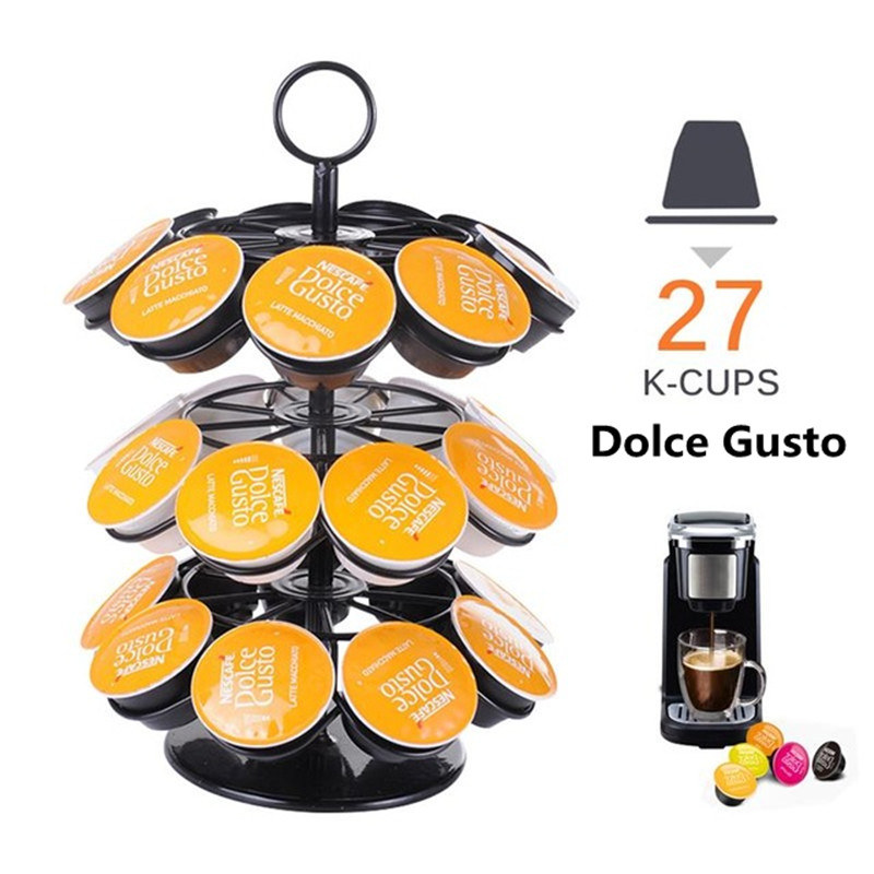 2020 Band Coffee Pod Holder 360 Degree Rotating Rack Coffee Capsule Storage Organizer for 27pcs Dolce Gusto or K-Cups Capsule