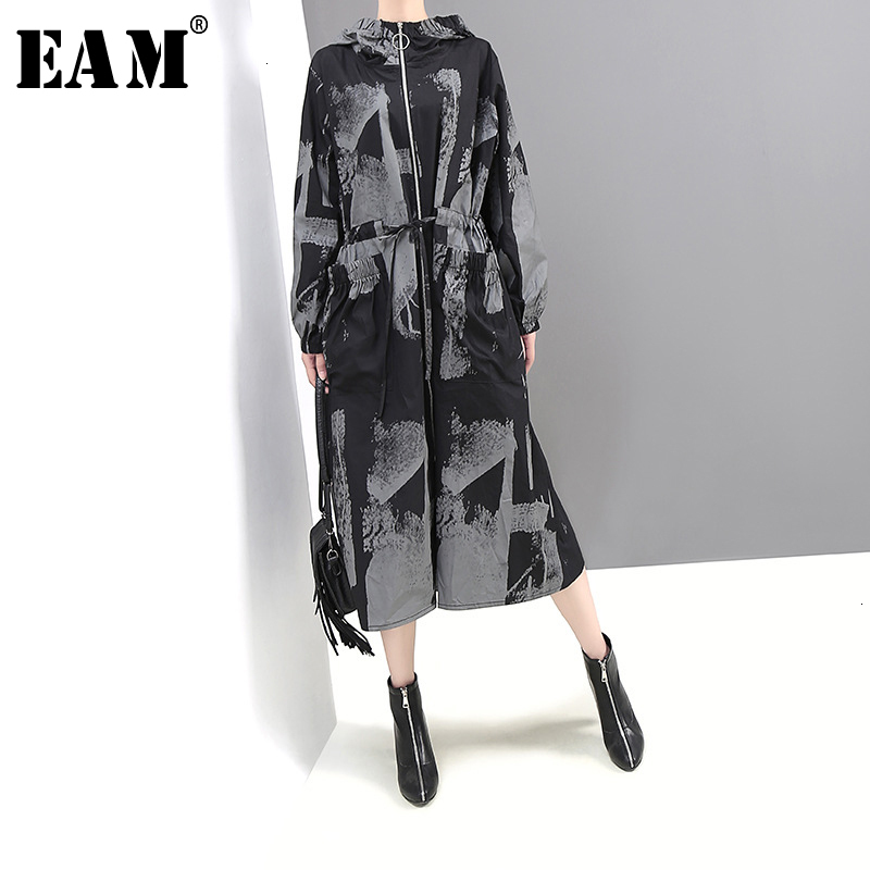 [EAM] Women Pattern Printed Big Size Long   Trench   New Hooded Long Sleeve Loose Fit Windbreaker Fashion Tide Autumn Winter 2019
