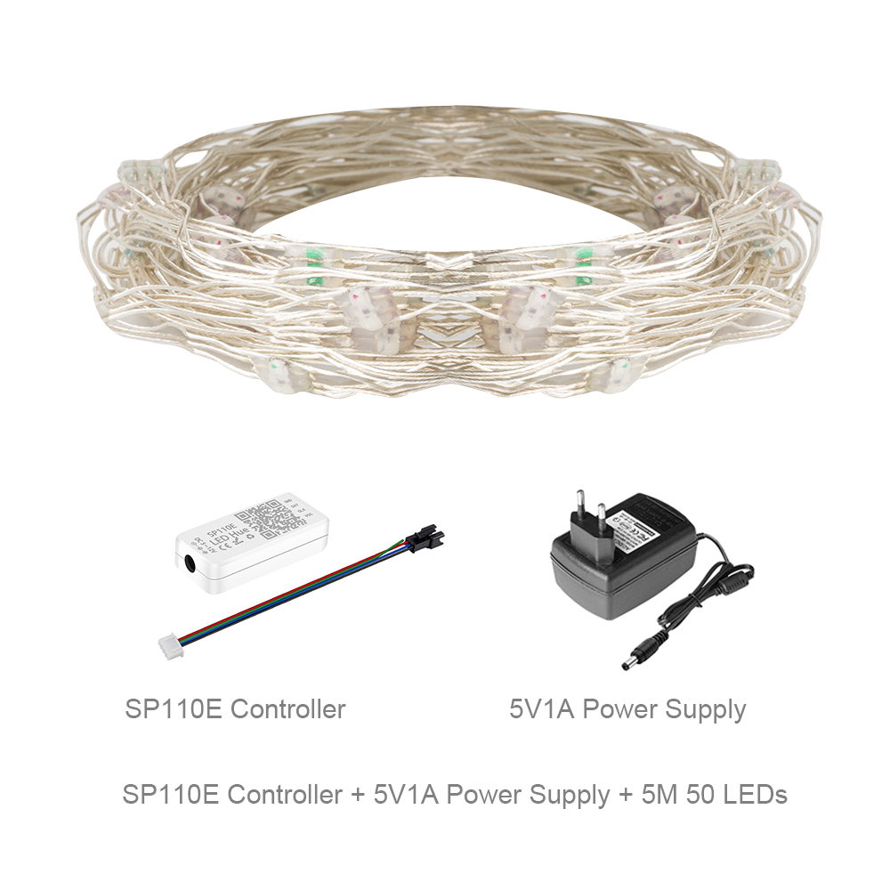 50 светодиодный s/string WS2812B пикселей RGB светодиодный модуль теплоотвода узлы адресуемые индивидуально с Bluetooth музыкальным контроллером DC5V - Цвет: SP110E 5M Set