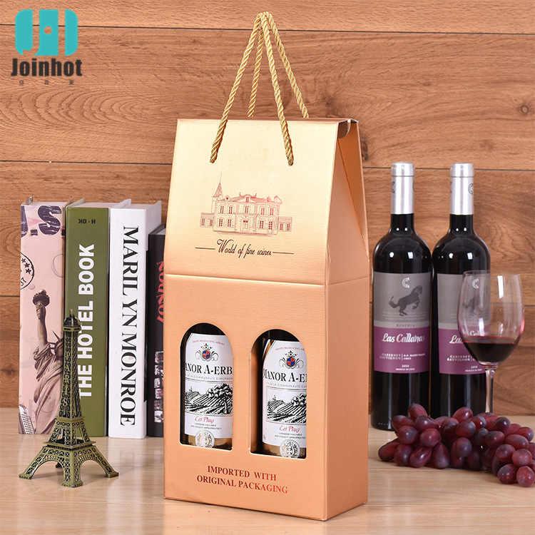 1pc wino pudełko kartonowe na prezent pudełko na wino pudełko na wino pudełko na wino okno Kraft papierowe pudełko torby na prezenty