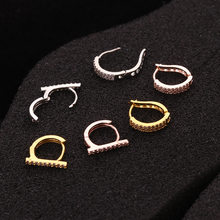 Europe And America New Style Cool Cartilage Ear Stud Micro Zircon Ear Clip Earrings Human Ear Piercing Jewelry(China)