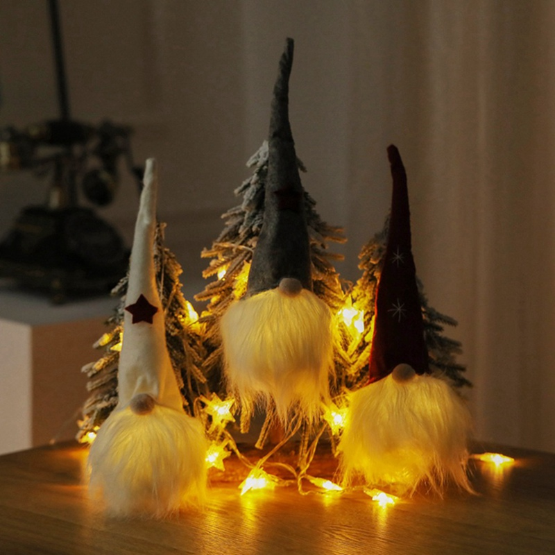 Christmas LED Holiday Light Faceless Doll Little Figurine Decoration Nordic Shine Gnome Old Man Dolls Xmas Decor Gift
