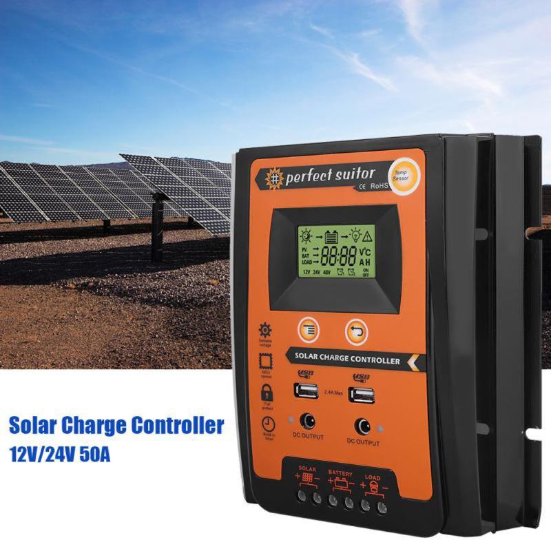 Контроллер заряда 12 в 24 В 30A 50A 70A MPPT Солнечный контроллер заряда солнечная панель регулятор заряда батареи двойной USB ЖК-дисплей