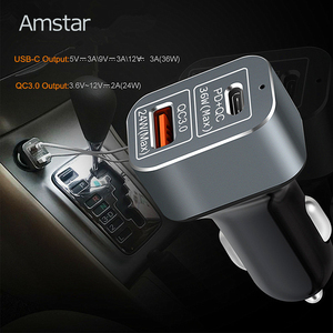 Image 2 - Amstar 60W Autolader Usb C Pd Charger Quick Charge 3.0 Snelle Auto Oplader Voor Iphone 11 Pro xs Xr X 8 Ipad Macbook Samsung 10 + 9