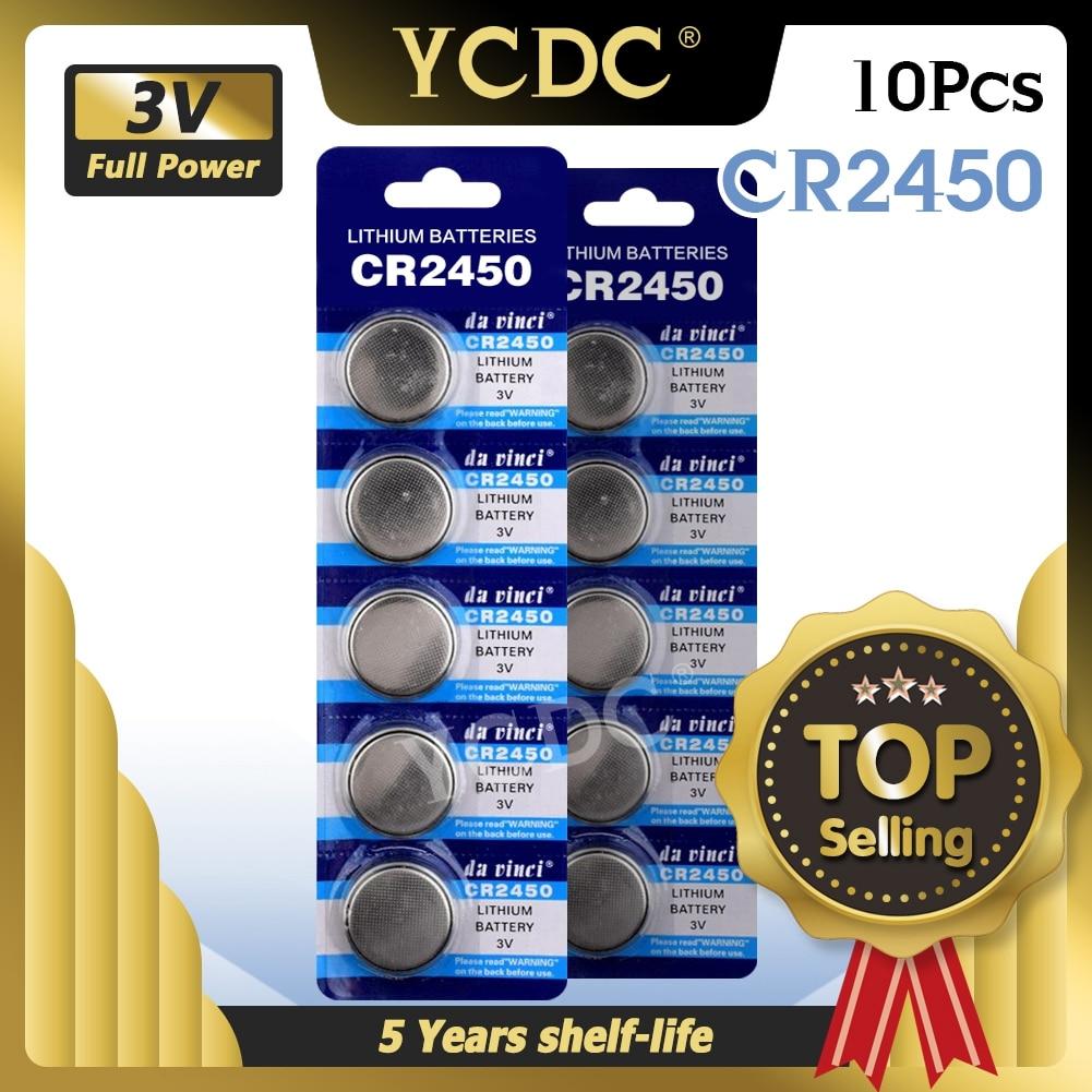 10 шт. CR2450 CR 2450 3v батарейка, часы, часы, литий-полимерные батареи для компьютера, Montherboard, калькулятор, дистанционное управление