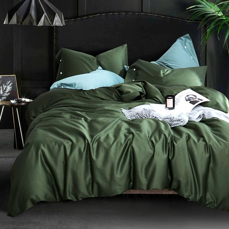 37 Egyptian long-staple cotton 600TC satin solid color bed set comfortable bedding set duvet cover sheets pillowcase Best gift