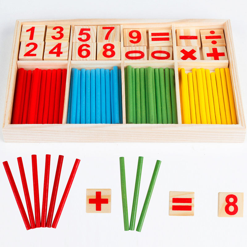 Baby Learning Counting Sticks Education Wooden Toys Building Intelligence Blocks Montessori Mathematical Wooden Box Xmas Gift