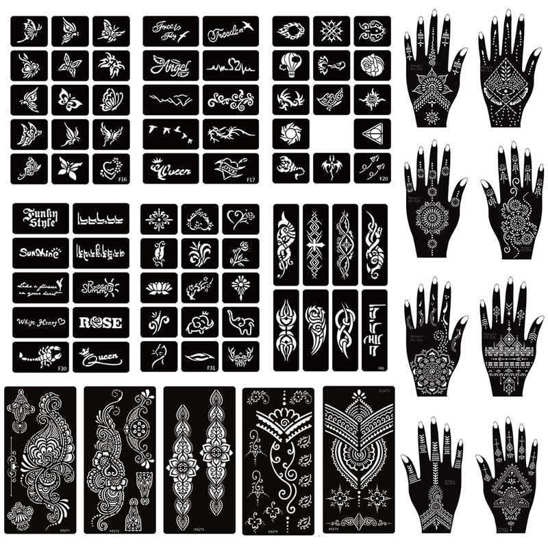 Xmasir 36 Sheets Airbrush Tattoo Stencil For Henna Body Art Painting Temporary Glitter Tattoo Templates Kit For Kids Adults Henna Tattoo Paint For Bodytattoo Body Paint Aliexpress
