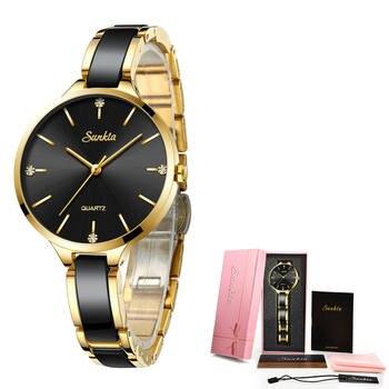 Relogio Feminino SUNKTA Women Watches Waterproof Top Brand Luxury Watch Women With Ceramics And Metal Strap Relojes Para Mujer 9