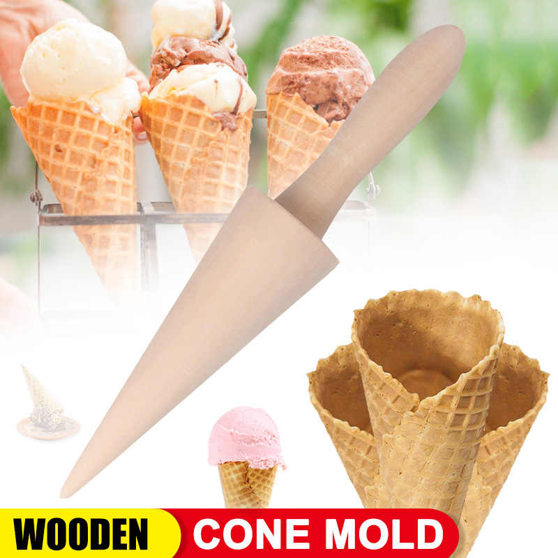 Wooden Cone Shape Ice Cream Mold Ice Cream Roller Taper DIY Kitchen Baking Tool