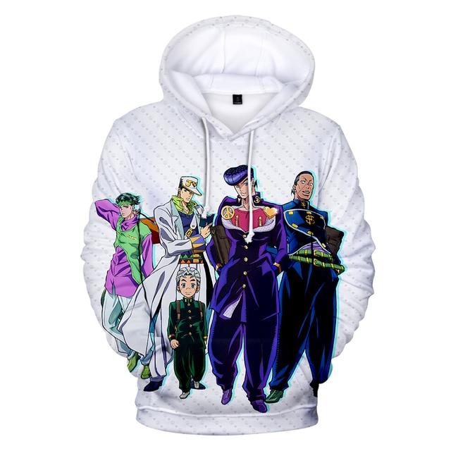 JoJo's Bizarre Adventure Hoodie Sweatshirt Harajuku Fashion Popular 3D Hoodies Men Women Basics Autumn Loose Hoodies JOJO Hoody 4
