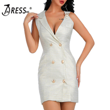 INDRESSME 2020  New Women Sexy Solid Sleeveless Deep V Neck Three Breasted Fashion Sexy Office Lady Suit Mini Suit Dress