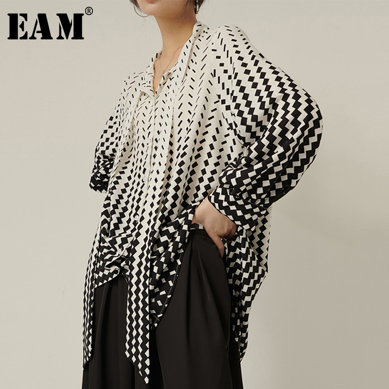 [EAM] Women Pattern Printed Big Size Blouse New Bow Collar Long Sleeve Loose Fit Shirt Fashion Tide Spring Autumn 2020 1S340