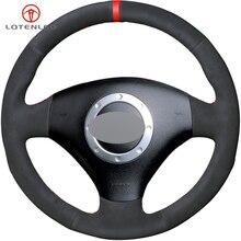 LQTENLEO negro de mano DIY protector para volante de coche para Audi A3 2000 2003 A4 2003 2005 RS 6 2003 S4 2004 2006 TT 2001 2006
