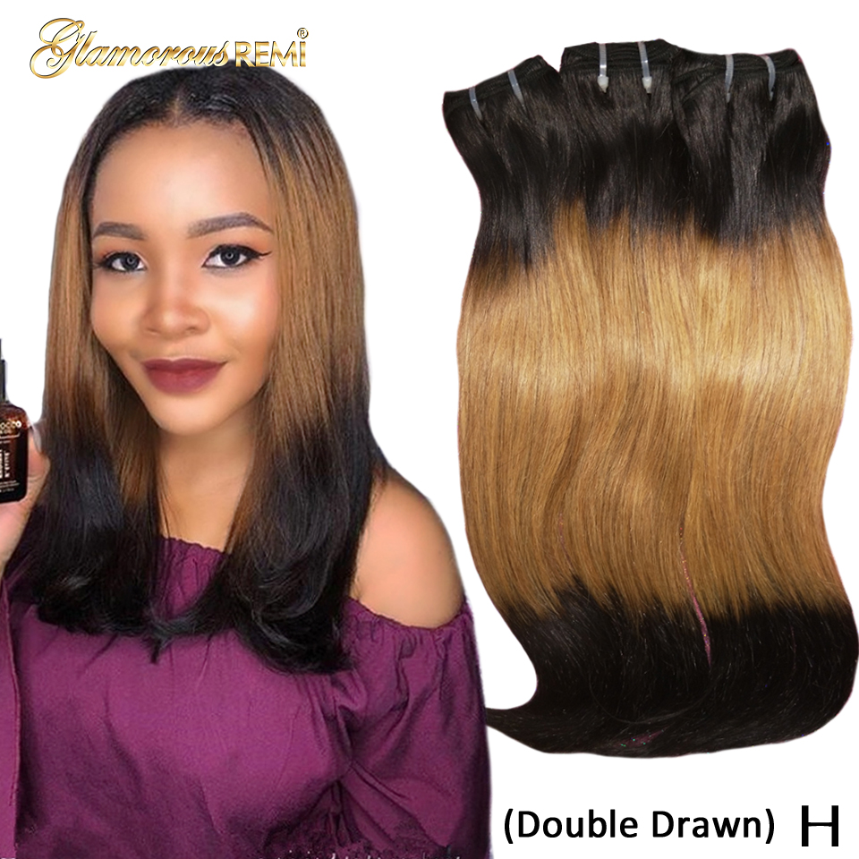 Double Drawn Human Hair Extensions Natural Straight #T1B #27 #1B Ombre  3 Tone  Remy Human Hair Bundles Honey Blonde Color Women