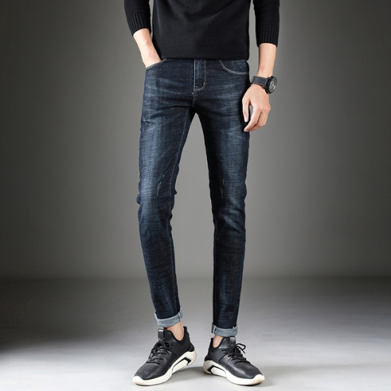Handsome Style Autumn And Winter Youth MEN'S Jeans Trend Men'S Wear Korean-style Slim Fit Elasticity Skinny Pants