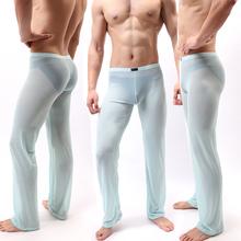 Męskie spodnie męskie spodnie do spania majtki domowe luźne seksowne męskie spodnie codzienne przepuszczalne seksowne męskie piżamy bielizna nocna tanie tanio Suknem Hr-E667 Stałe Nylon Elastan