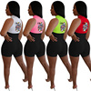 Fashion Sexy High Waist Short Jumpsuit Summer Overalls For Women Jumpsuits Women's Poker Q Printing Sleeveless Bodycon Romper 2