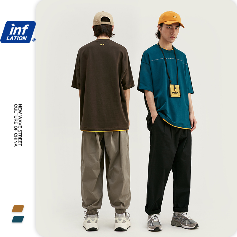 INFLATION Men Patchwork Tshirt Summer Solid Men Casual 250G T-shirt Short Sleeve Cotton Hip Hop Streetwear Men Tshirt 1067S20