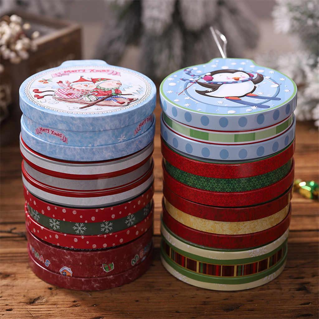 Рождественская жестяная коробка подарочные коробки для конфет и коробка для хранения печенья подвесное дерево Рождественский Декор левый и правый бипартинг Открытый Мульти-пакет 2020