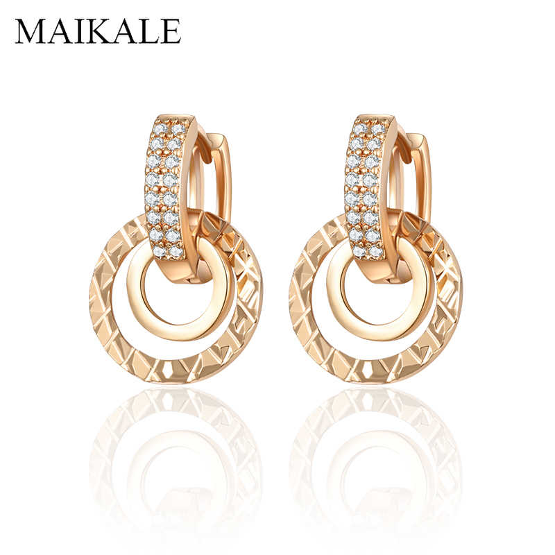 MAIKALE New Fashion Round Stud Earrings for Women Geometric Double Circle Gold Silver Color Plated Cubic Zirconia Earrings Gifts