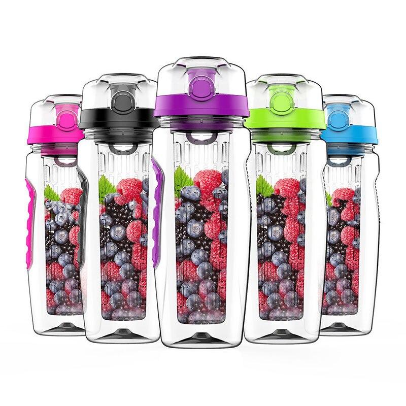 32oz 1000ml BPA Free Fruit Infuser Juice Shaker Sports Lemon Water Bottle Tour hiking Portable Climbing Camp detox Bottles